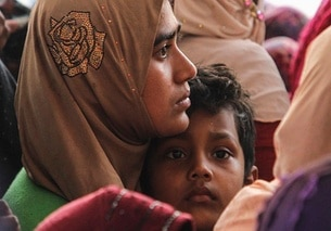 A Rohingya mother and child