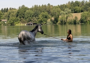 woman leading horse into lake
