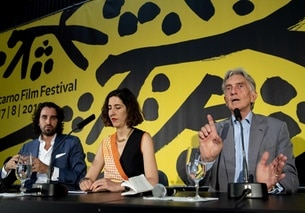 Raphael Brunschwig, Chief Operating Officer, left, Lili Hinstin, Artistic Director, center, and Marco Solari, Festival President
