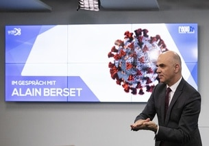 Interior minister Alain Berset ahead of a radio interview